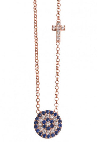 Blue Eye and Crystal Cross Necklace in Rose Gold
