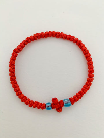 Red Komboskini with Pale Blue Beads
