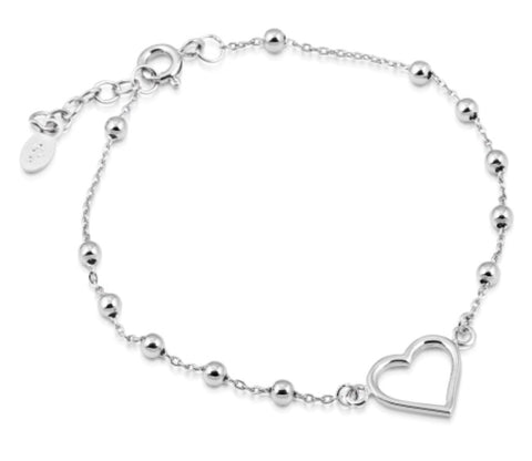 Ball Heart Bracelet in Sterling Silver