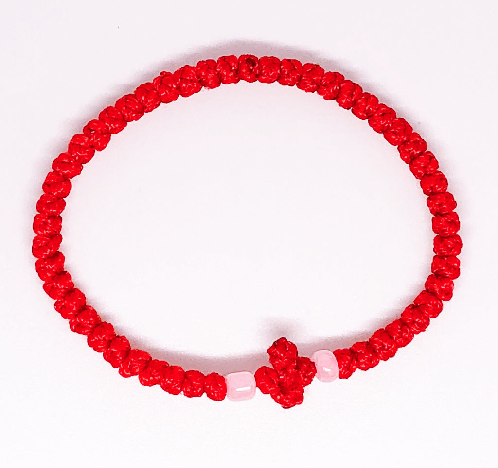 Red Komboskini with Pink Beads