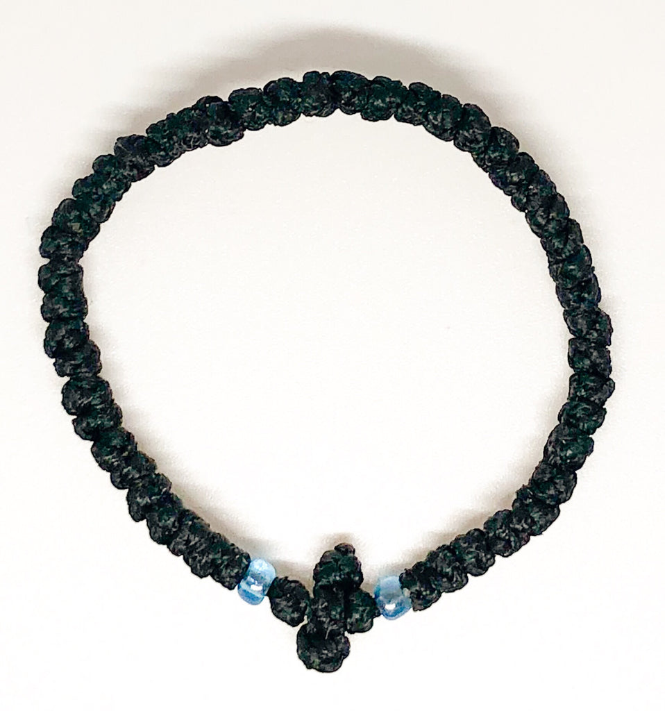 Black Komboskini with Light Blue Beads