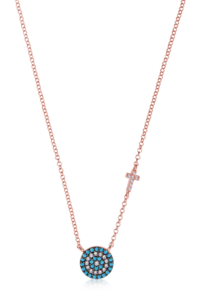 Big Eye and Cross Nano Necklace in Rose Gold