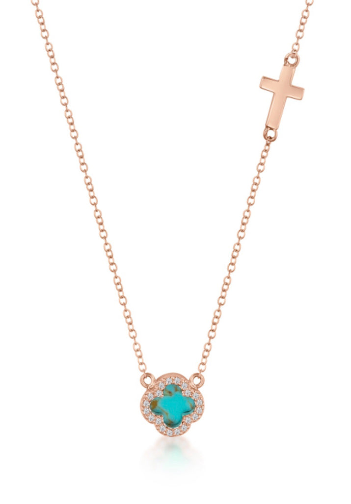 Turquoise Clover & Cross Necklace in Rose Gold