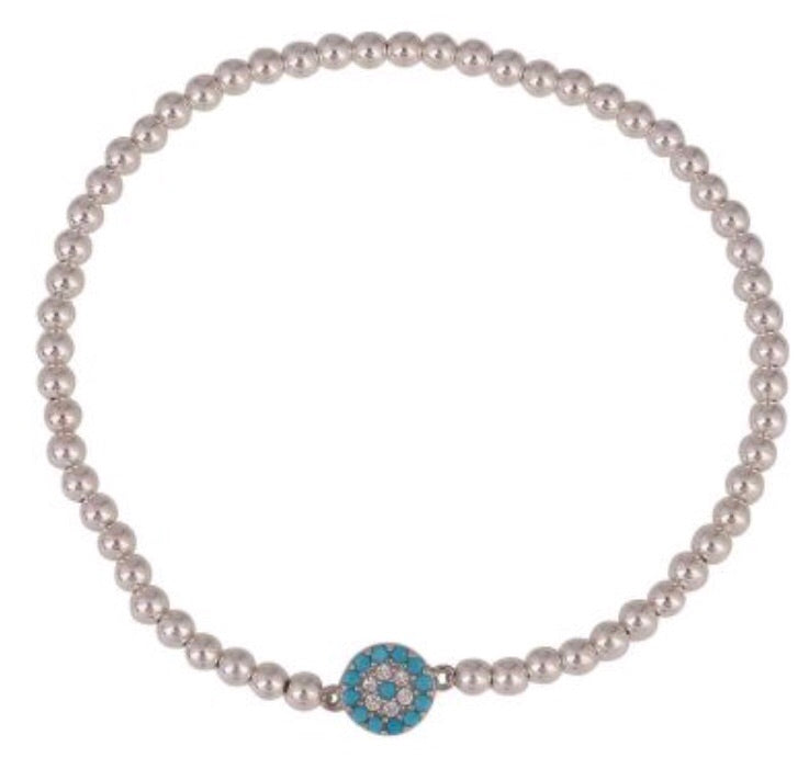 Small Light Blue Eye Beaded Bracelet in Rose Gold