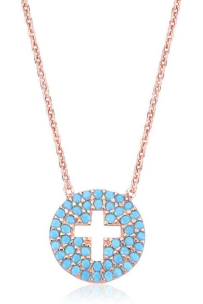 Mini Cut Out Cross Nano Necklace in Rose Gold