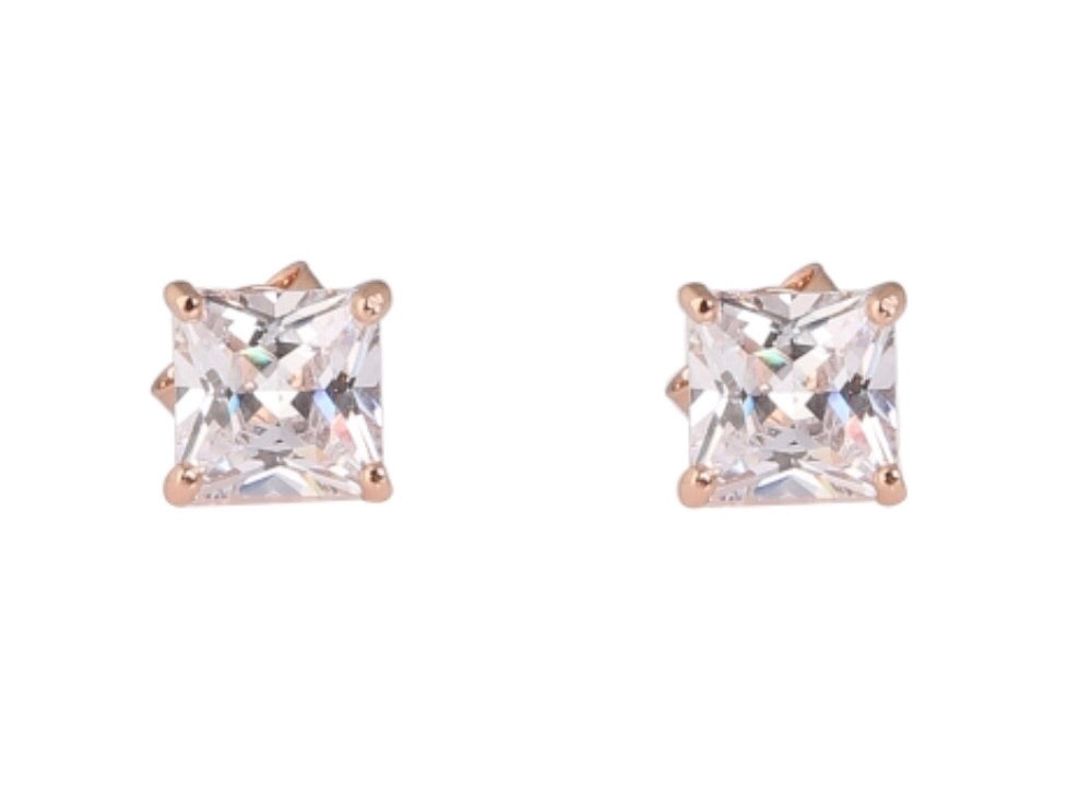 Diamonte Square 6mm Stud Earrings in Rose Gold