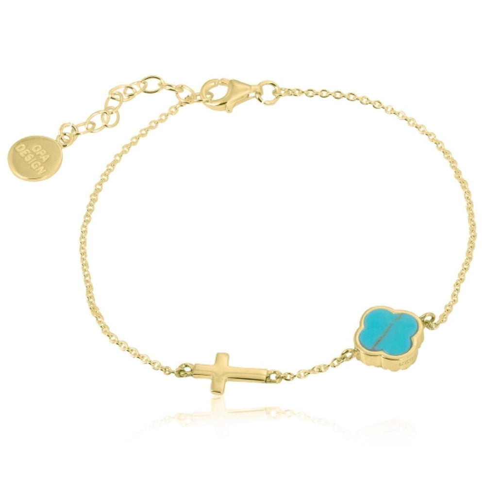 Turquoise Clover with Cross Bracelet in Gold
