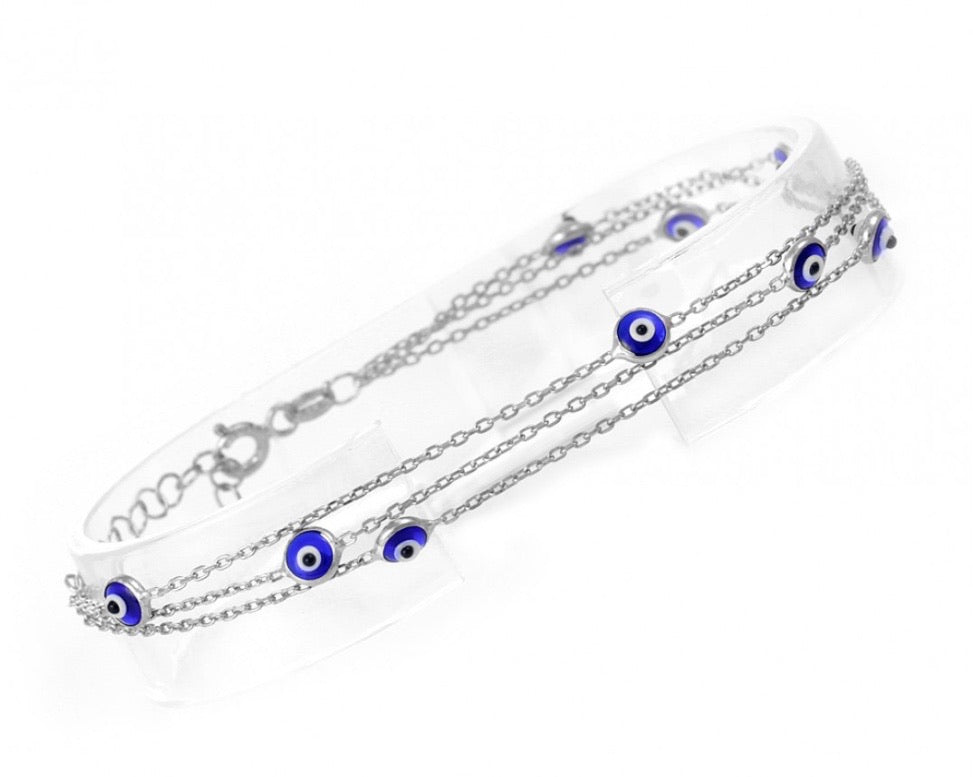 Looped Greek Mati Bracelet in Sterling Silver