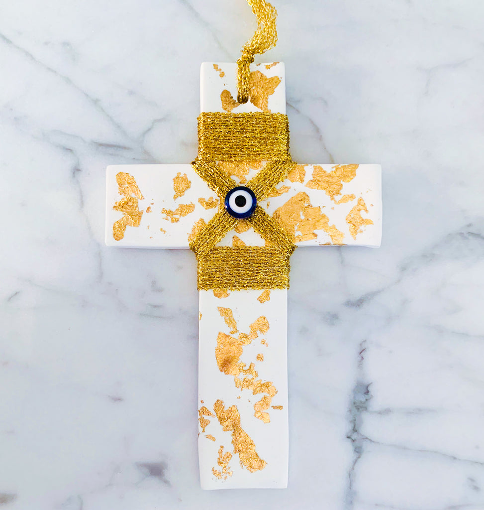 White Cross with Gold Leaf, Stringing and Eye