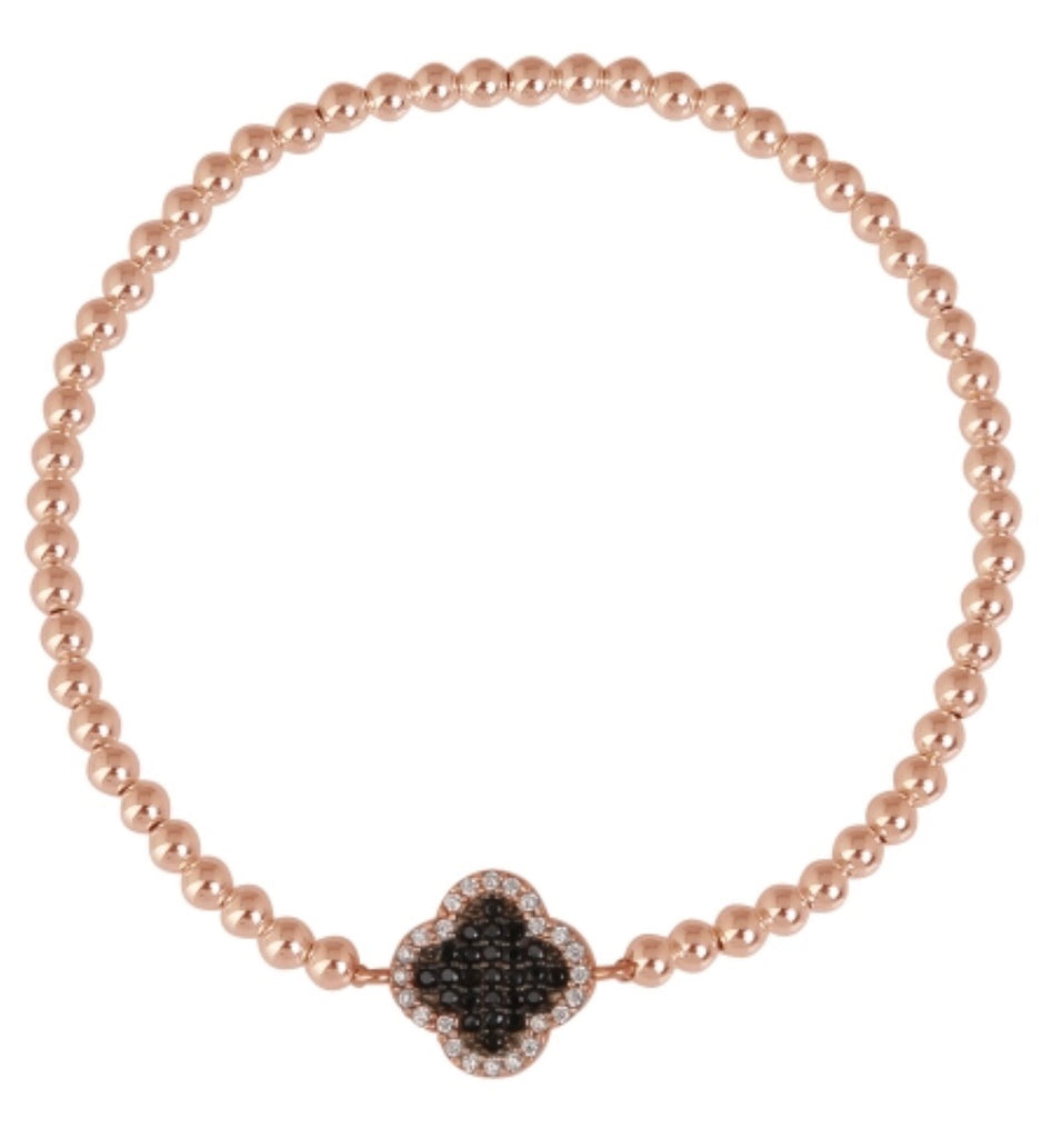 Love My Clover Beaded Bracelet in Rose Gold