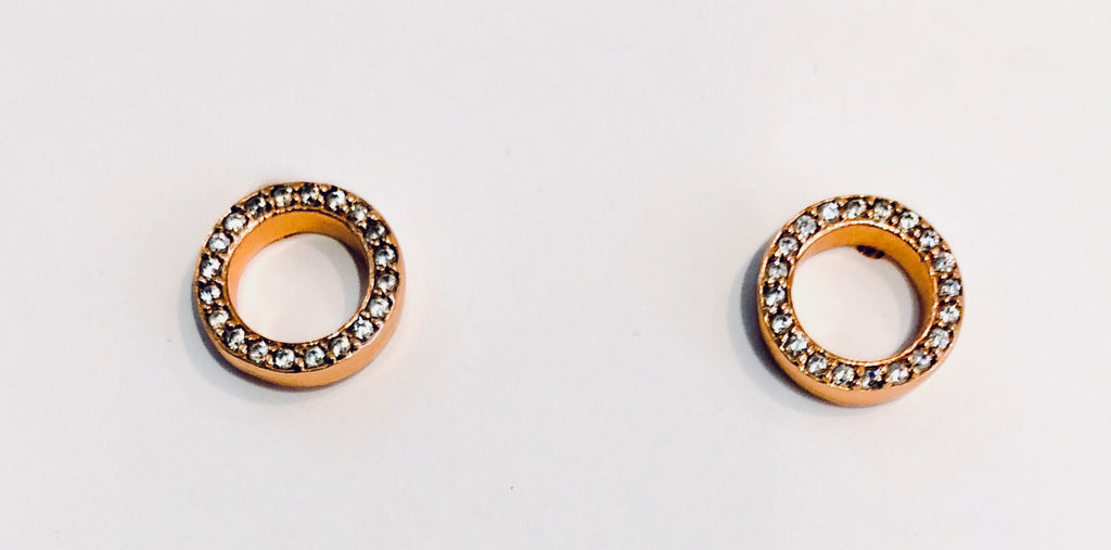 Open Circle Diamond Stud Earrings in Rose Gold