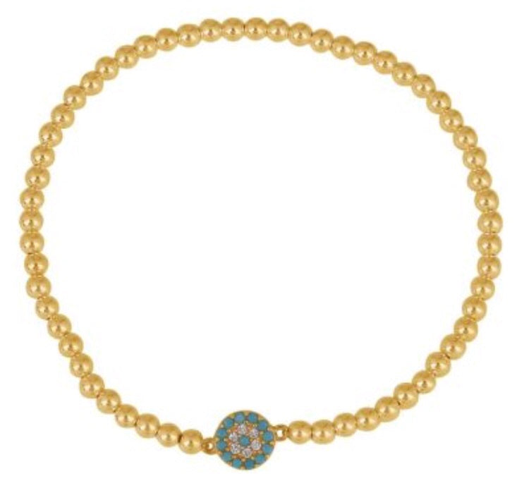 Small Light Blue Eye Beaded Bracelet in Gold