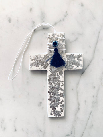 White Cross with Silver Leaf and Eye