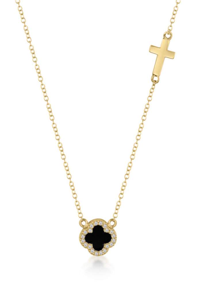 Onyx Clover & Cross Necklace in Gold