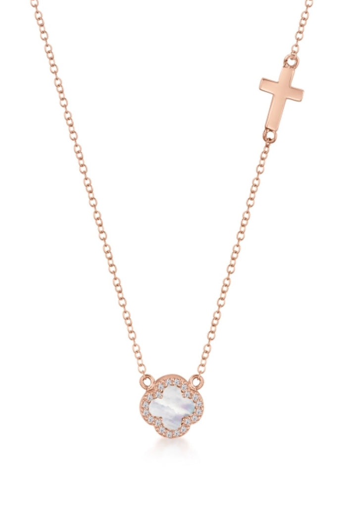 Mother of Pearl Clover & Cross Necklace in Rose Gold