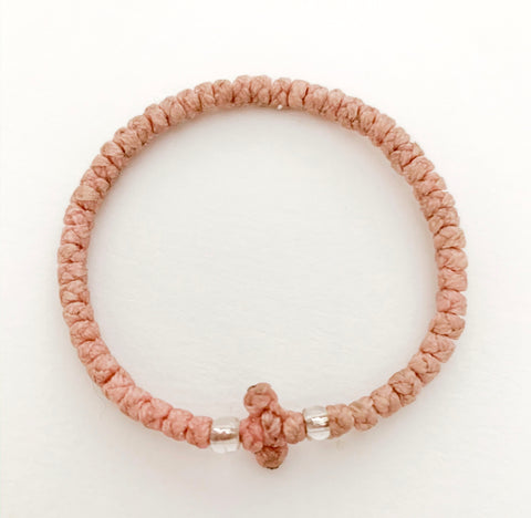 Dusty Pink Komboskini with Clear Beads