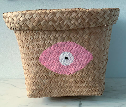Seagrass Basket with Pale Pink Evil Eye