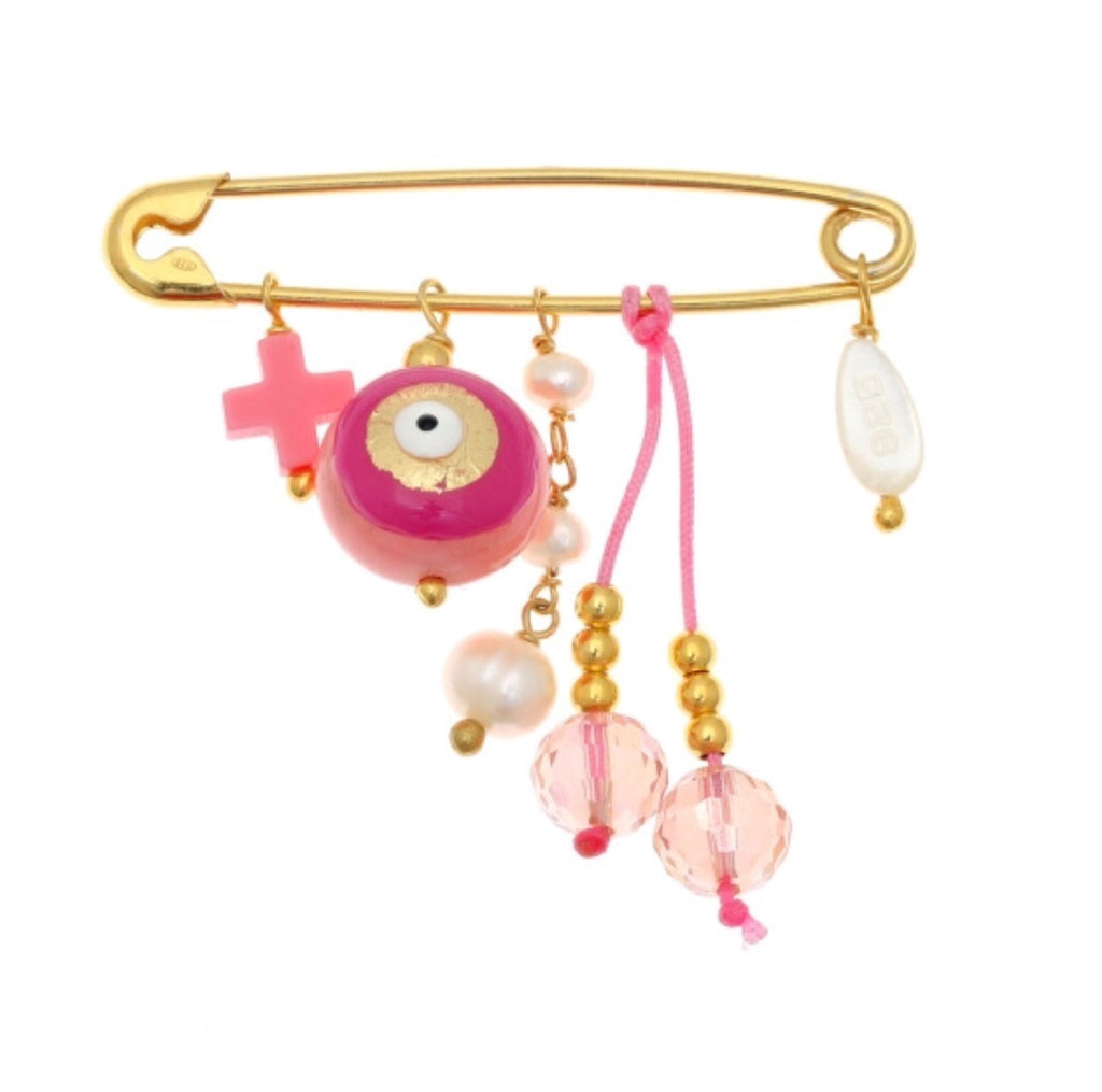 Pink Pin with Hanging Charms (Genesis) in Gold
