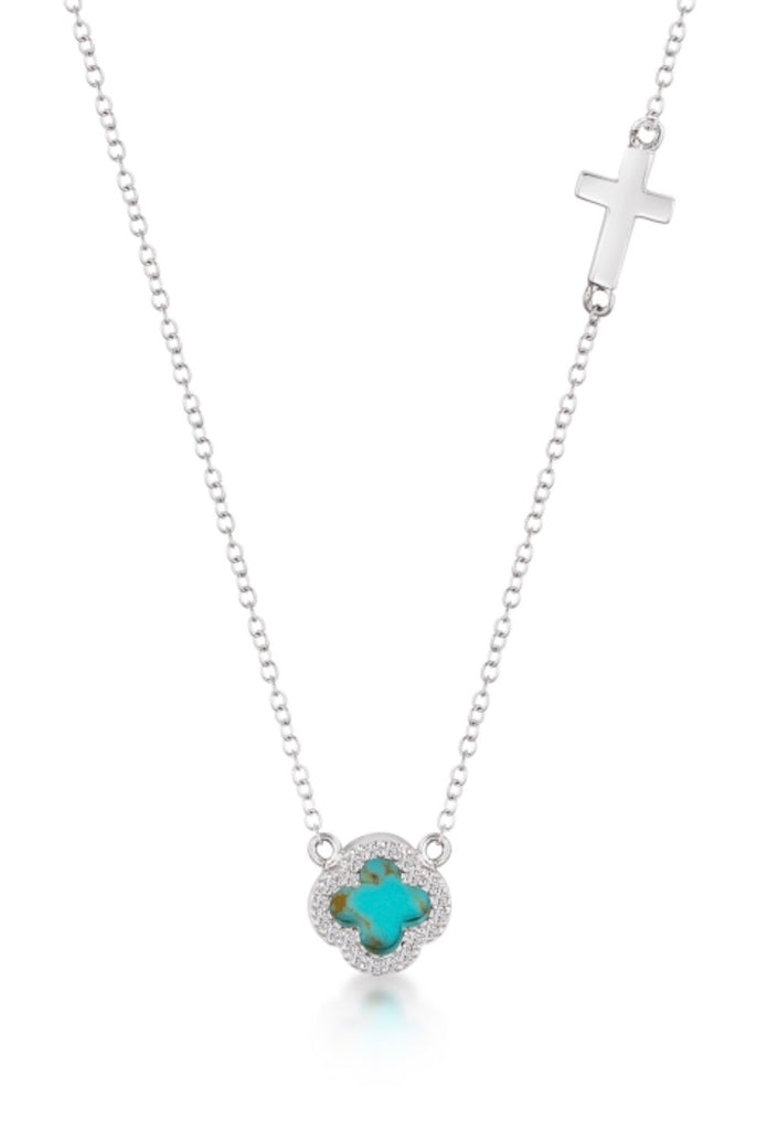 Turquoise Clover & Cross Necklace in Sterling Silver