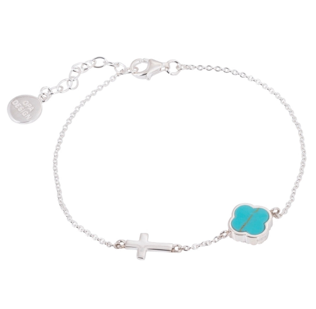 Turquoise Clover with Cross Bracelet in Sterling Silver