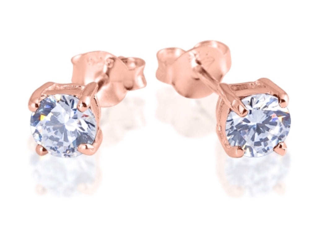 Clear Quartz Stud Earrings in Rose Gold