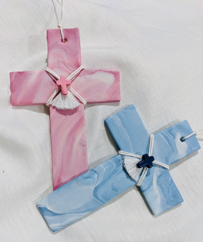 Bebaki Series 1 Baby Blue Marbled Cross with Cross Embellishment