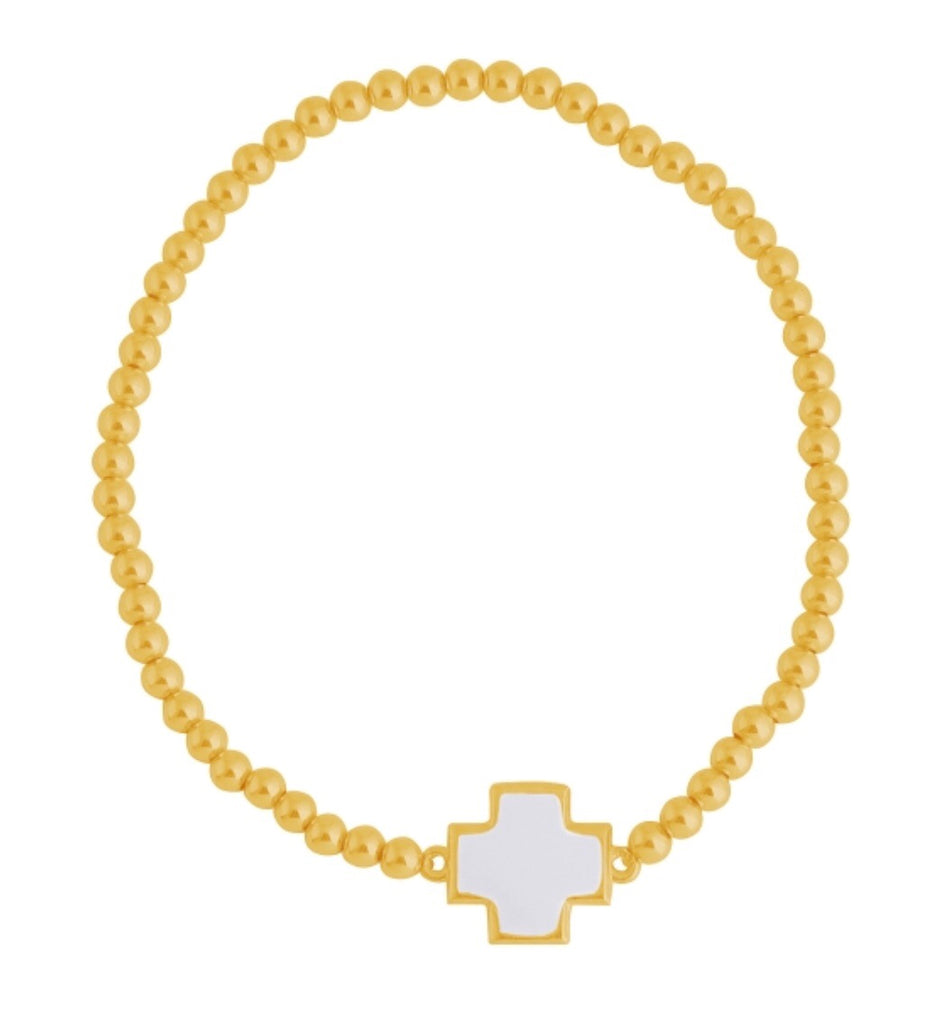 White Square Cross Beaded Bracelet in Gold