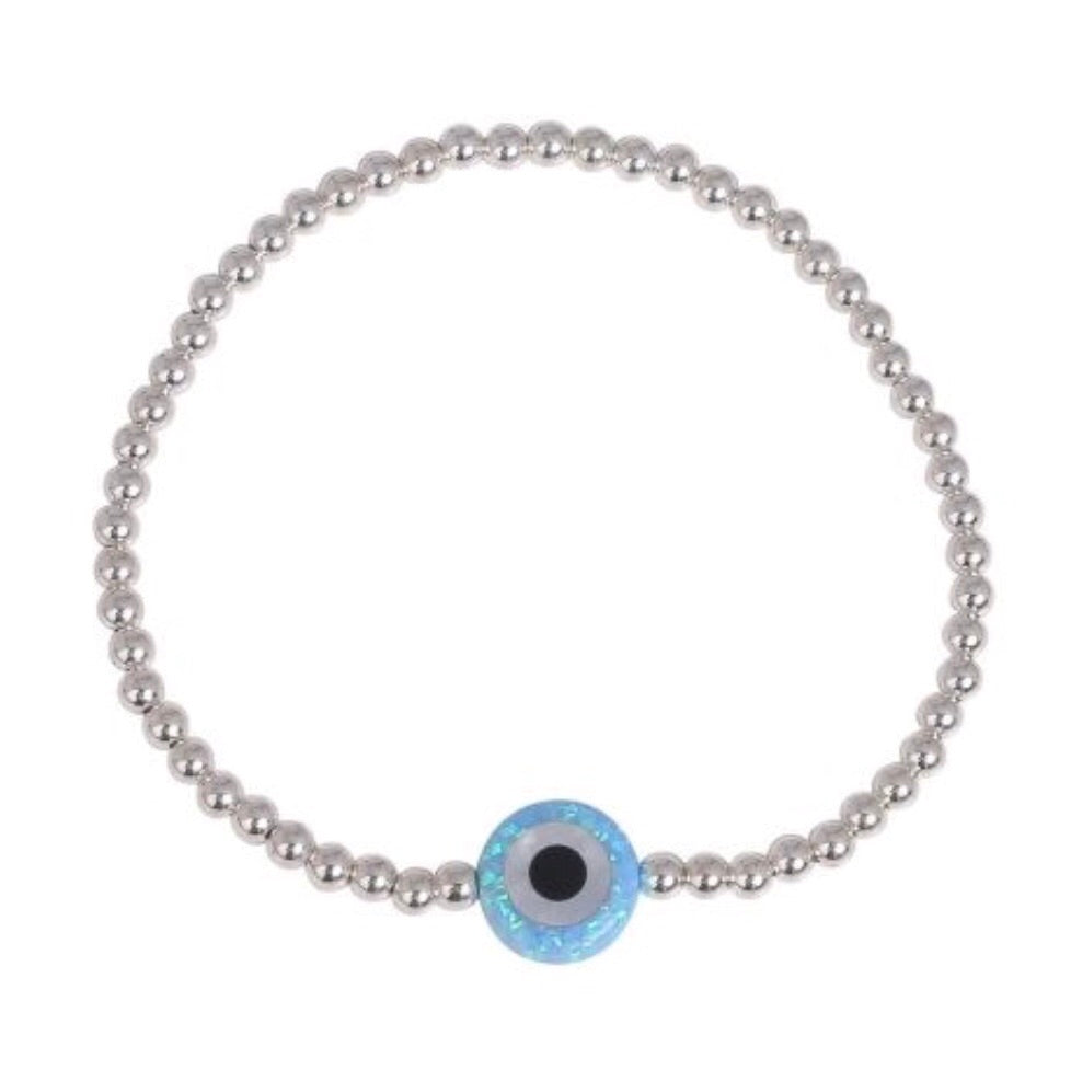 Round Opalite Eye Beaded Bracelet in Gold