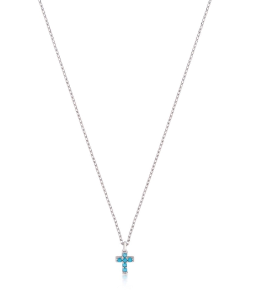 Mini Nano Cross Necklace in Rose Gold
