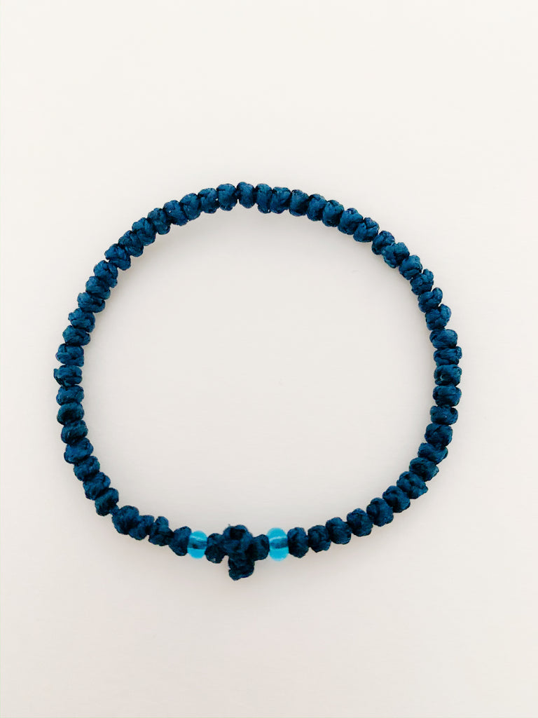 Dark Blue Komboskini with Light Blue Beads