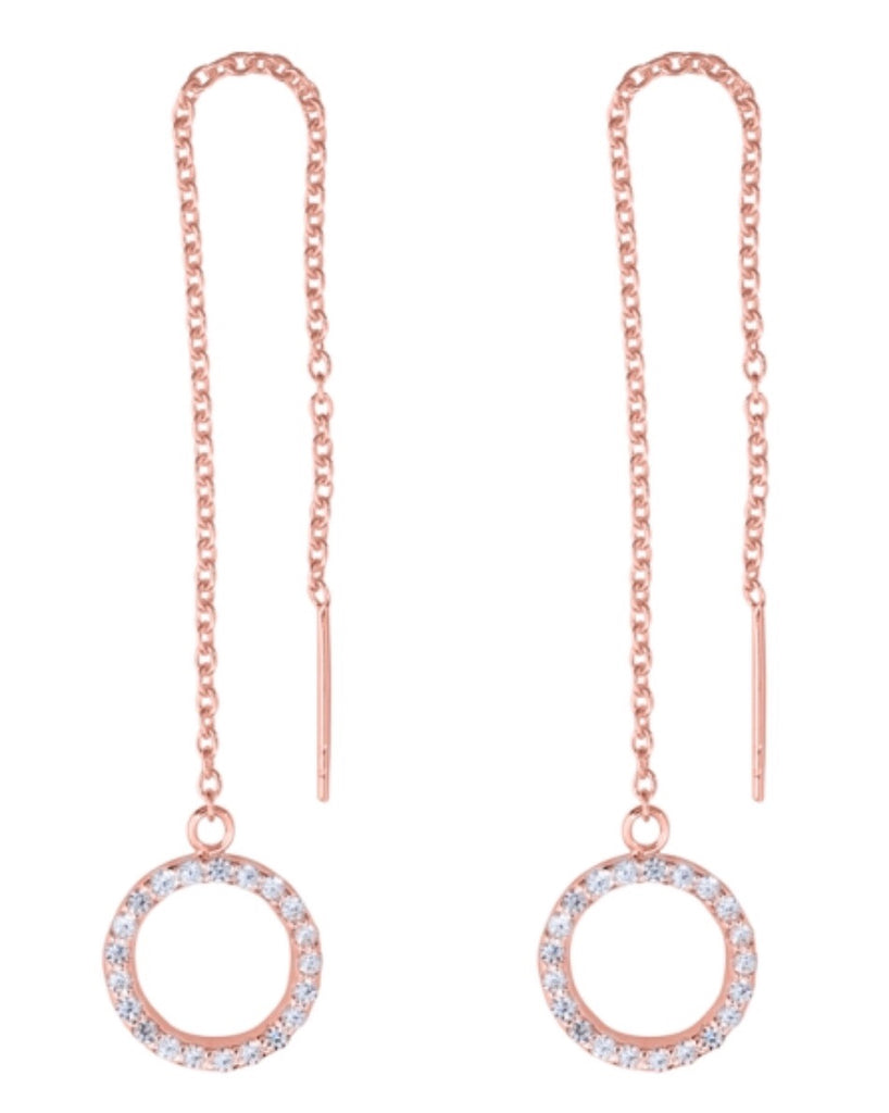 Circle Threads Earrings in Rose Gold