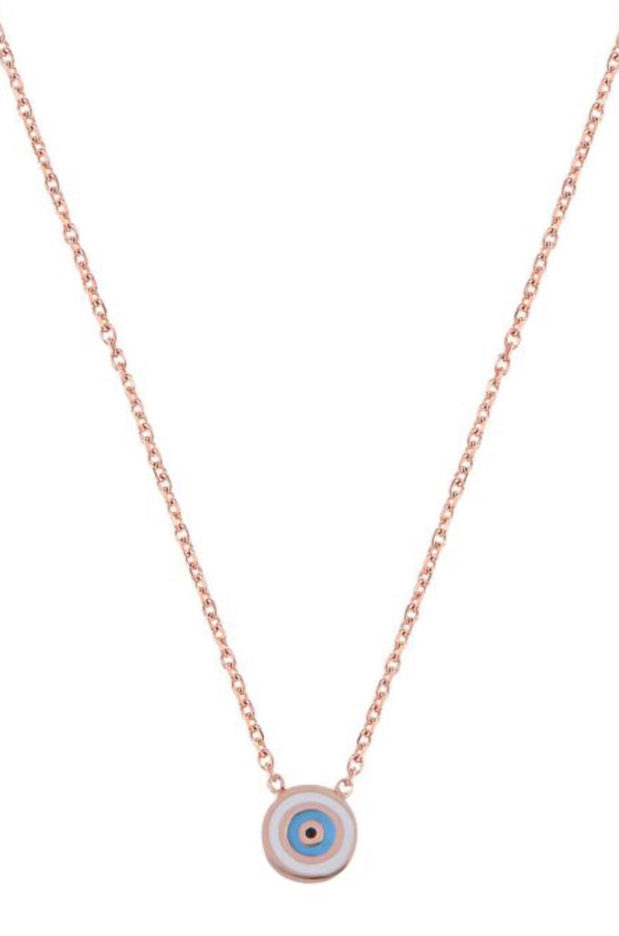 Mini Round Eye Necklace in Rose Gold