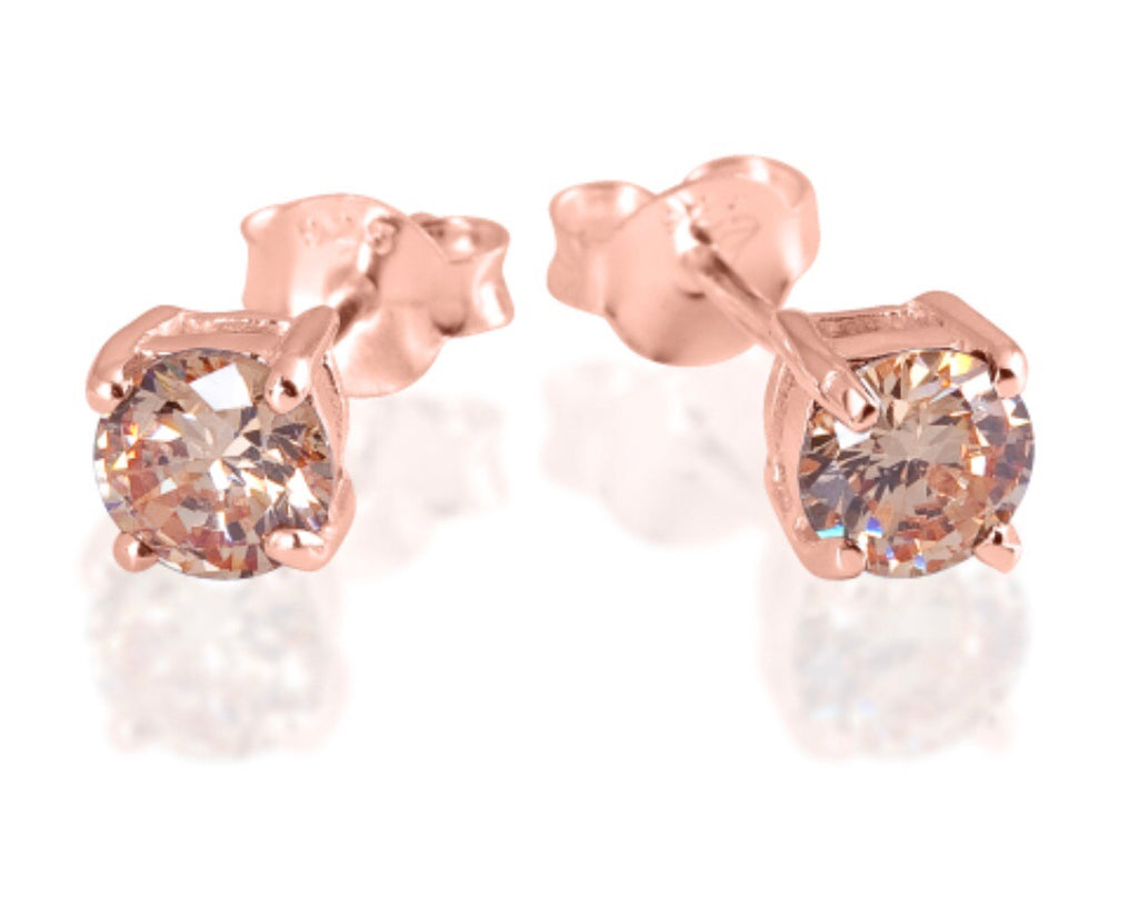 Topaz Stud Earrings in Rose Gold