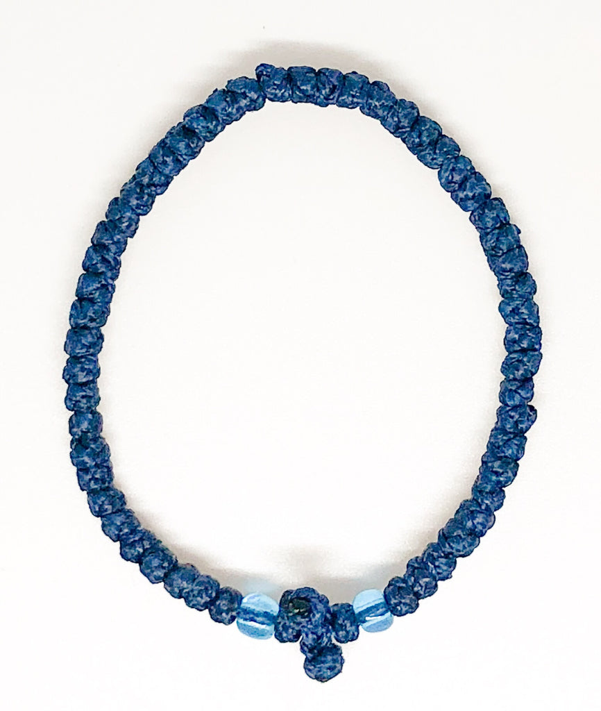 Blue Komboskini with Light Blue Beads
