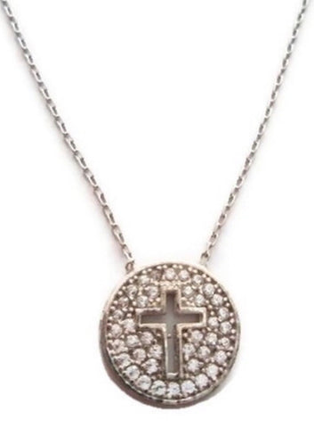 Cut Out Cross Necklace in Sterling Silver
