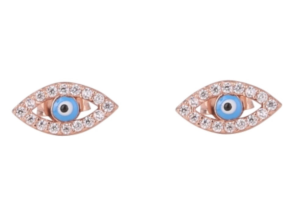 Slant Eye Earrings in Rose Gold