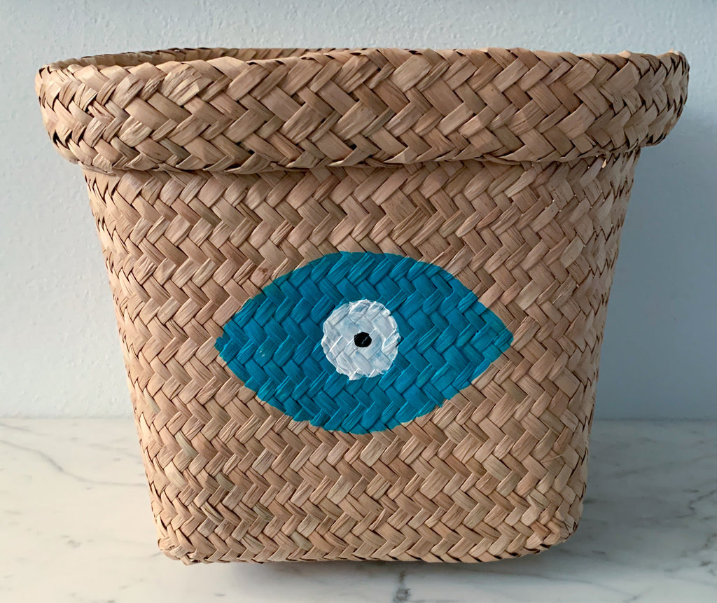 Seagrass Basket with Turquoise Evil Eye