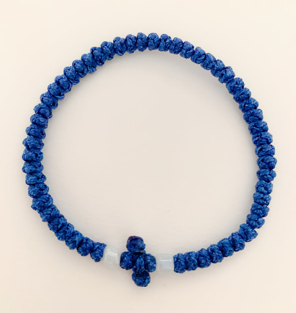 Dark Blue Komboskini with White Beads