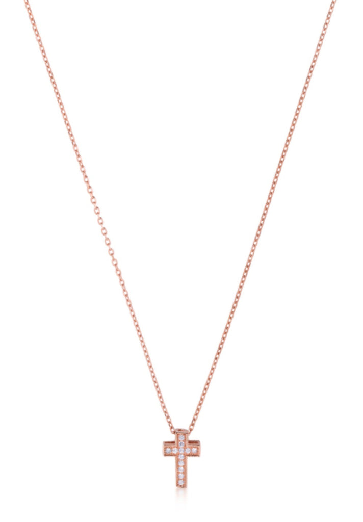 Mini Block Cross in Rose Gold