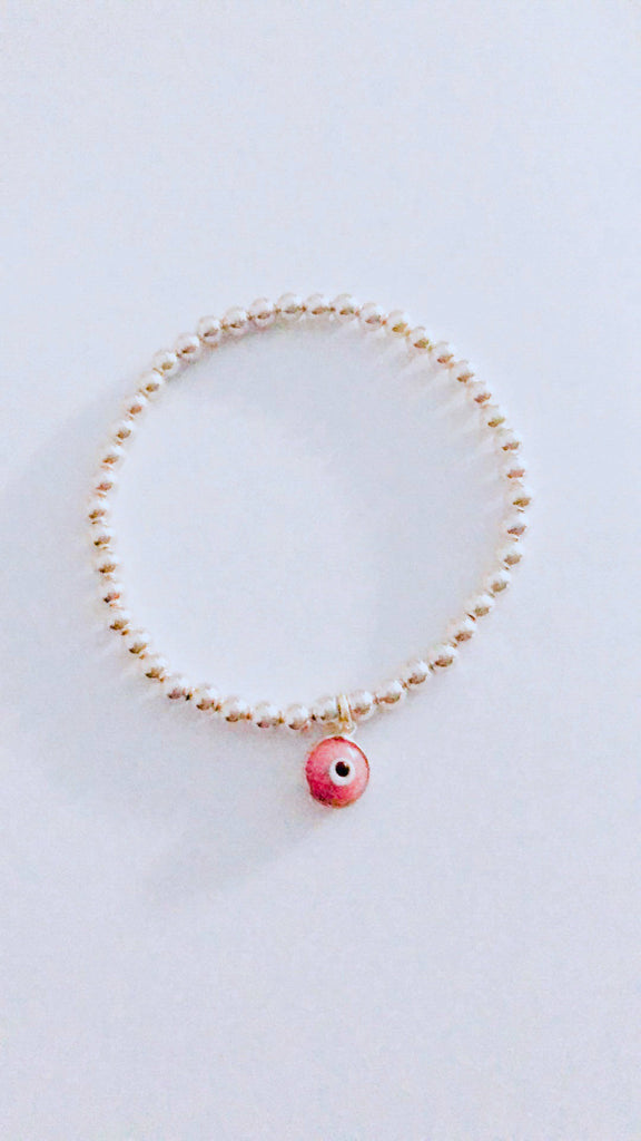 Eye Love Beaded Bracelet in Sterling Silver with Pink Eye