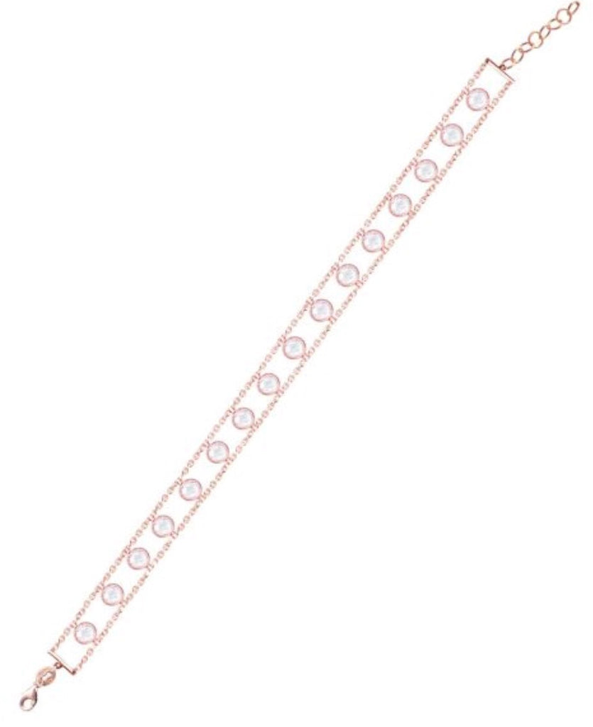 Clear Diamonte Anklet in Rose Gold