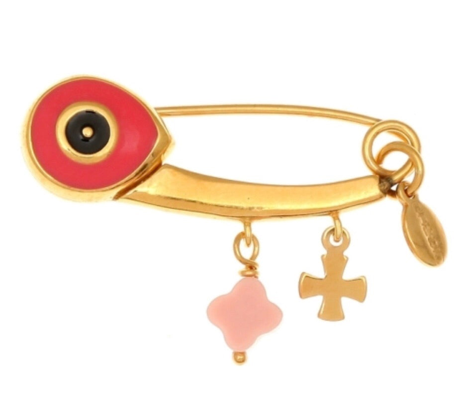 Eye Pin in Coral Pink and Gold