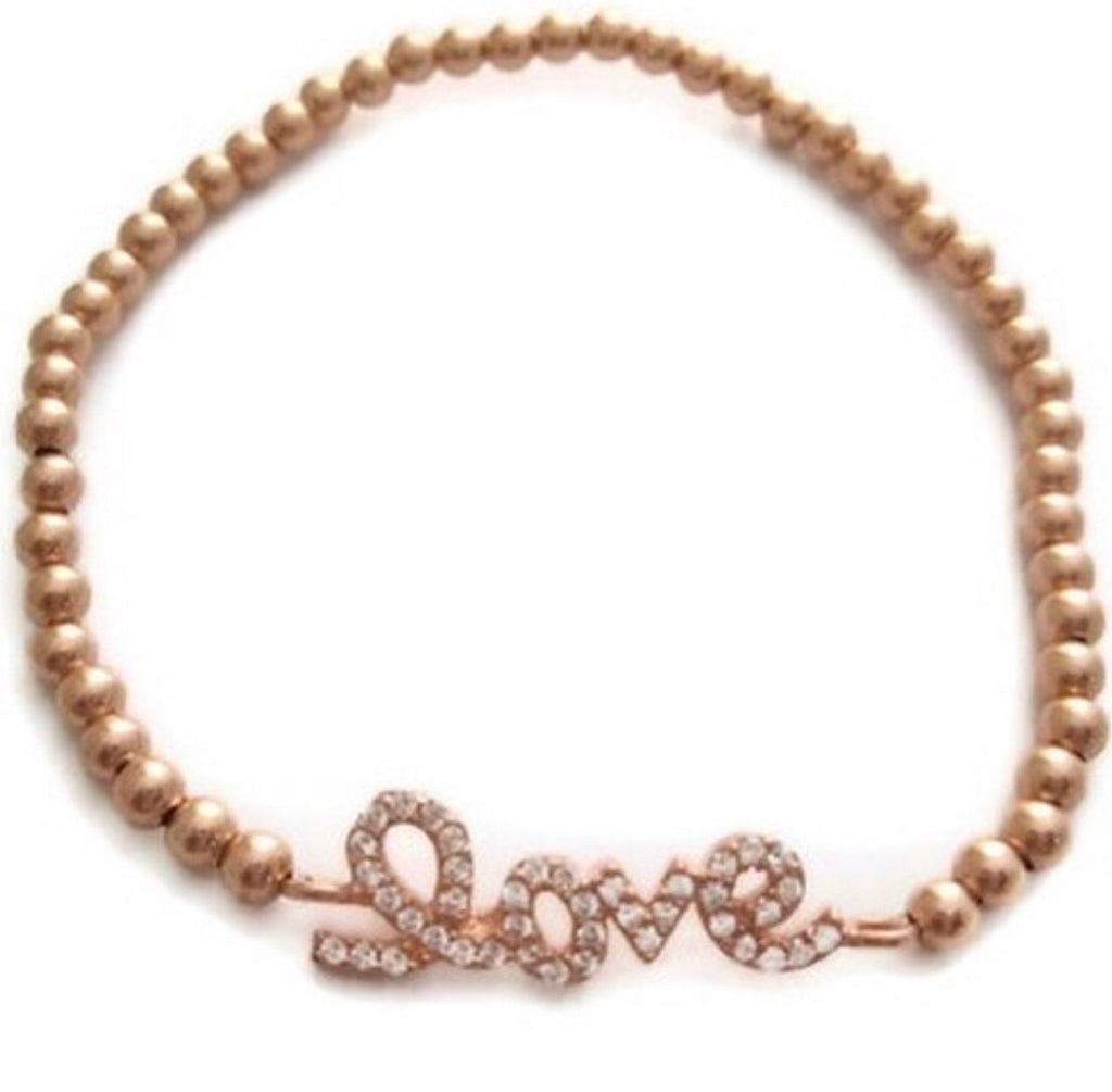 Love Beaded Bracelet in Rose Gold