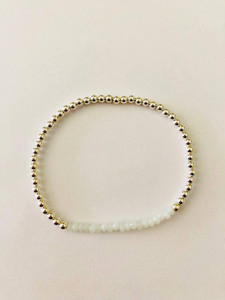 Crystal White Beaded Bracelet in Sterling Silver