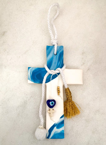Blue Marbled Cross on White with embellishments