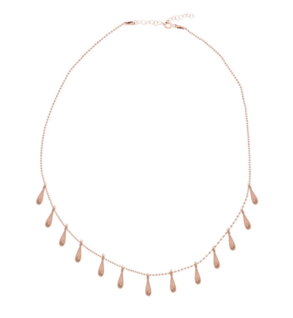 Teardrop Layering Necklace in Rose Gold