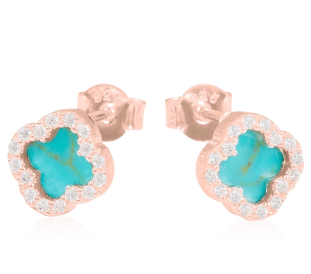 Turquoise Clover Earrings in Rose Gold