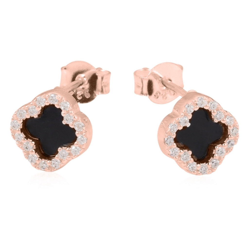 Clover Onyx Earrings in Rose Gold