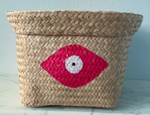 Seagrass Basket with Crimson Evil Eye