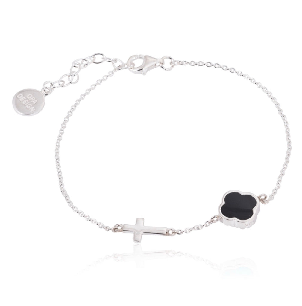 Onyx Clover and Cross Bracelet in Sterling Silver